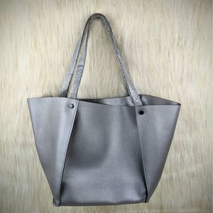 NEW Neiman Marcus Faux Leather Silver Large Tote